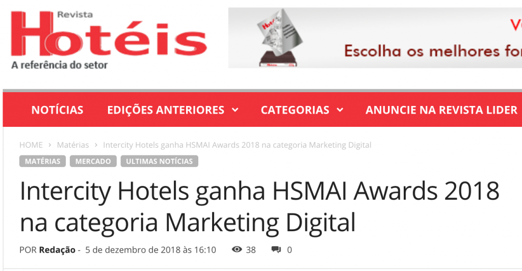Intercity Hotels ganha HSMAI Awards 2018 na Categoria Marketing Digital