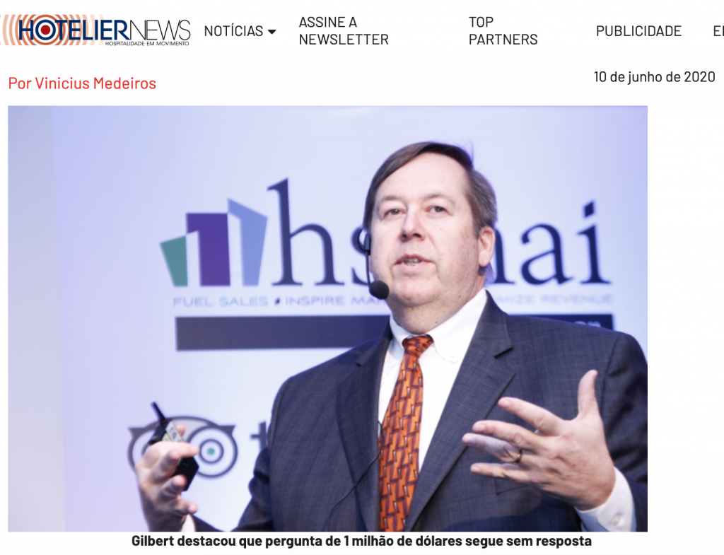 Bob Gilbert, Presidente HSMAI Brasil palestra na Phocuswright Conference para 4.000 pessoas online
