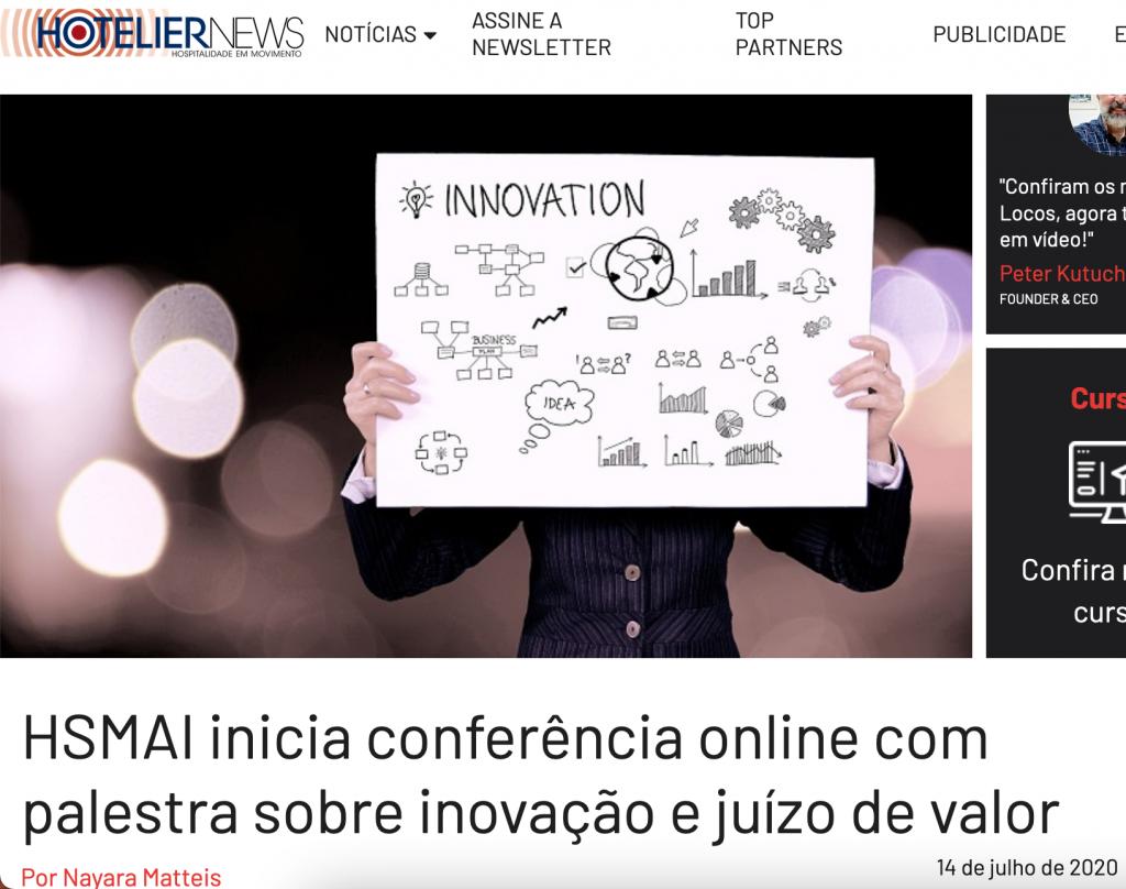 HSMAI inicia conferência online com palestra sobre inovação e juízo de valor